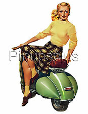 Sweet Vintage Vespa Pinup Girl Scooter Waterslide Decal for Guitar & More S209
