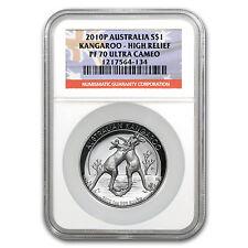 2010 1 oz Proof Silver High Relief Australian Kangaroo Coin - PF-70 UCAM NGC