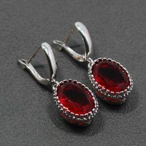 925 Sterling Silver & Red Garnet Drop Dangle Earrings Edwardian Style