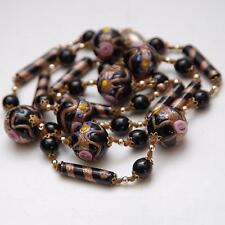 VINTAGE MURANO Venetian Black Glass Wedding Bead Necklace_Black Gold Aventurine