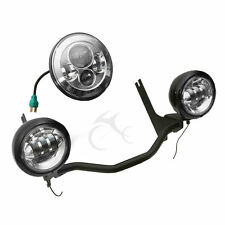 "30W 4.5"" Fog Auxiliary Light Headlight w/ Bracket For Harley Electra Glide 94-13"