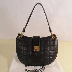 AUTHENTIC MCM Leather Quilt Hobo shoulder Bag + Dust Bag