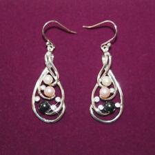 Black White Peach Pearl Crystal Dangle Earrings White 14k White Gold over 925 SS