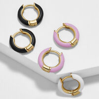 Enamel Huggie Hoop Earring Decidedly Chic Statement Colorful Boutique Jewelry