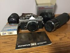 Olympus OM-2N 35mm SLR Camera w 3 Lenses, Filters, Working Condition