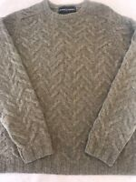 Men's Bowen & Wright cable knit 100% lambswool gray sweater sz M! Great Cond!