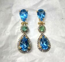 925 Sterling Silver Natural Swiss Blue Topaz & Natural Emerald Earrings