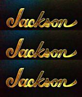 Jackson Guitar REVERSE Headstock Inlay, Die-Cut Decal Sticker OEM 0.4% 22k GOLD