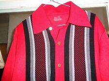 GAMA 50's-60's SHIRT JAC Red Grays Black Long Sleeves Metal Buttons ROCKABILLY L