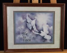He Is Risen Print by Julia Crainer with Doves Framed Inspirational