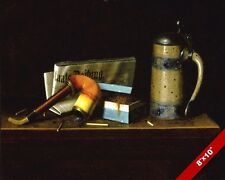TOBACCO, NEWSPAPER, PIPE & STEIN OIL PAINTING ART REAL CANVAS GICLEEPRINT