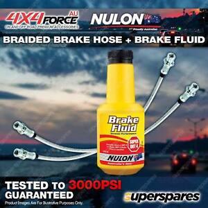 2 Fr Braided LH+RH Brake Hoses + Nulon Fluid for Mitsubishi Triton ML MN 06-On