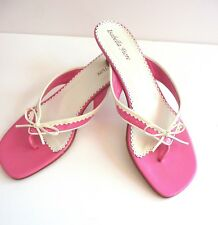 Isabella Fiore Candy Pink and WhiteThong Low Heel Sandals Size 39 9B Retail $345