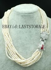 """10rows freshwater pearl necklace round wholesale nature 4-5mm 19"""" leopard hook"""