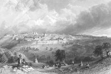 ISRAEL, Jerusalem TEMPLE MOUNT OF OLIVES DOME OF ROCK ~ 1837 Art Print Engraving