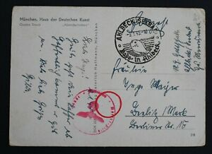 Ahlbeck 1945 postmark, Third Reich, Military? on an Art postcard, postal history