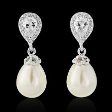 Pearl drop bridal earrings wedding vintage style