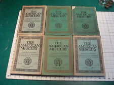 THE AMERICAN MERCURY 2nd group of 6 issues 7-12 july-december 1924 GREAT STORIES