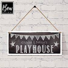 157 Chalkboard Style Personalised Playhouse Sign - Kids Den Playhouse Bunting