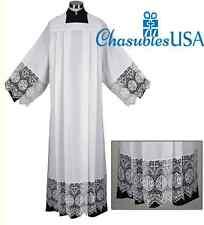 "Catholic Square Neck Rochet Alb with Latin IHS Cross 9"" Lace LARGE"