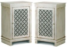Set of 2 * GEOMETRIC CUTWORK DISTRESSED WHITE CABINETS--NIGHT STAND TABLES * NIB