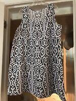 J Jill Love Linen Dress Women's Sleeveless Shift Summer Pull On White Black Sz L