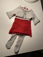 American Girl Doll Ruby Ribbon Dress Red Sweater Silver Cardigan Holiday Tights
