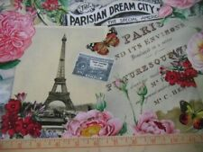 Elizabeths Studio Fabric Spring in Paris Collage Cream Eiffel Tower Monument