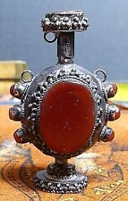 Antique Coin Silver Inlaid Carnelian Opium/Snuff Bottle-Necklace WOW!