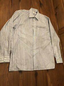 OLYMP LUXOR White Blue Striped Shirt Smart Suit Size XL Beautiful ✨ Worn Once