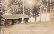 Maine Me Real Photo RPPC Postcard c1910 FARMINGTON Boat House OVERLAKE Log Cabin