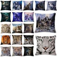Kissenhülle 3D Tier Eule Wolf Tiger Sofa Bett Auto Kissenbezug Dekokissen Decor