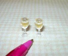 Miniature FILLED Plastic Wine Stems (White/Rose/White Zinfandel): DOLLHOUSE 1:12