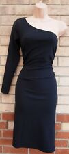 NEW LOOK BLACK MESH ONE SHOULDER LONG SLEEVE BODYCON PARTY PENCIL DRESS 16 XL