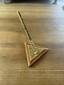 Vintage Persian Gold Mosaic Traditional Desk Pen And Stand