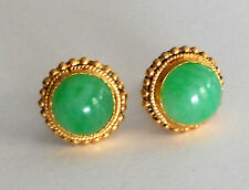 24KT Yellow Gold NATURAL JADE JADEITE EARRING A GRADE UNTREATERED VINTAGE 60's