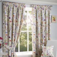Hampshire Wild Flower Floral Pencil Pleat Top Cream Curtains 66 X 72
