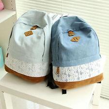 Girls Lace Denim Backpack Shoulder Travel Canvas Rucksack School Bookbag Satchel