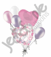 7 pc It's a Girl Hearts & Circles Balloon Bouquet Party Decoration Baby Shower