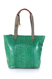 Brahmin Womens Large Green Leather Tote Handbag
