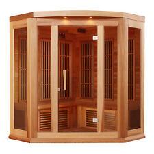 Maxxus 3-person Carbon Infrared Corner Red Cedar Wood Sauna / Mx-K356-01 Cedar