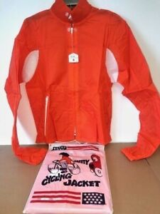 NWT Retro Safety Cycling Bike Racing Jacket Cherry Orange reflective size Small