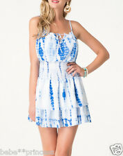 $119 NWT Bebe white blue printed straps cutout stretch flare top dress M medium