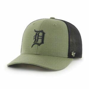 Detroit Tigers Cap Trucker MLB Baseball 47 Brand Kappe SNAPBACK  Khaki / Oliv /