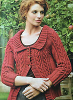 KNITTING PATTERN Ladies  Cable Design Cardigan 3/4 Sleeve Debbie Bliss PATTERN
