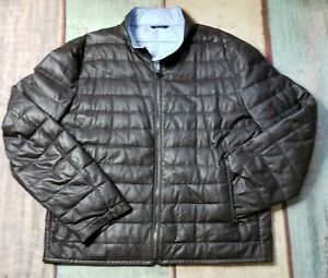 Saks Fifth Ave Puffer Leather Jacket Brown Exterior, Blue Interior MRSP $600