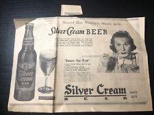 1952 Silver Cream beer Menominee Mi Brewery print ad 13x9�