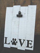 Pallet Wood LOVE Easel Back DOG PRINT With Metal Clip Rustic CAT Wooden FRAME