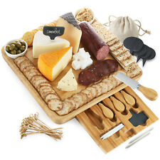 Bamboo Cheese Board & Cutlery Set Charcuterie Serving Tray with 2 Ceramic Bowls