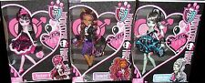 Monster High SWEET 1600 Dolls Gift Set of 3 DRACULAURA FRANKIE & CLAWDEEN Bundle
